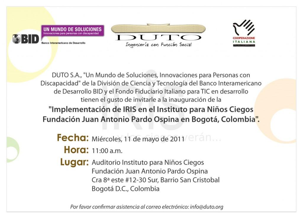 Invitación evento de inauguración IRIS en Bogotá